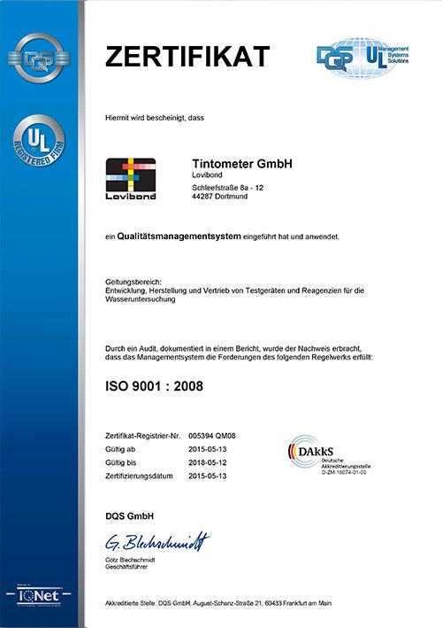 Tintometer ISO 9001:2008 Zertifiziert