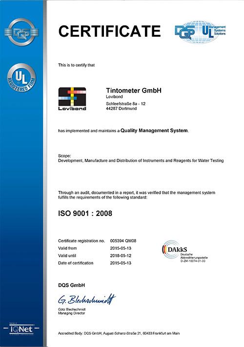 ISO 9001:2008 Lovibond